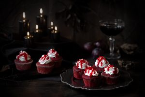 Bloody Cupcakes with Cream Cheese Frosting Recipe