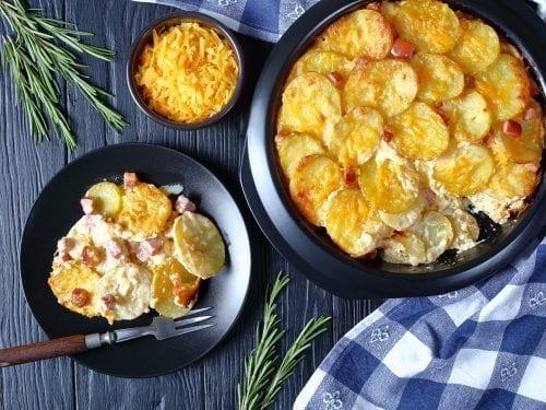 cheesy scalloped potatoes and ham casserole