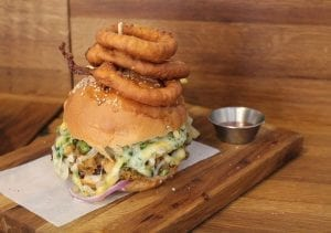 Chicken Burger With Crispy Onion Rings Recipe