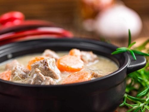 creamy stew with carrots and meat