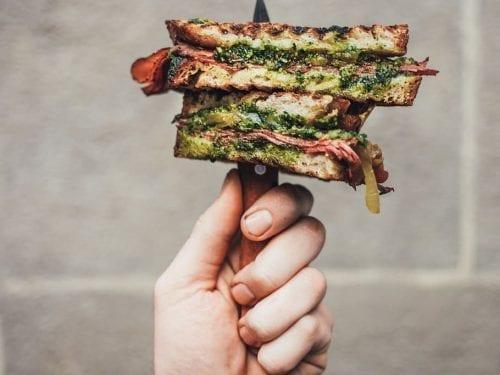 healthy chicken pesto sandwich