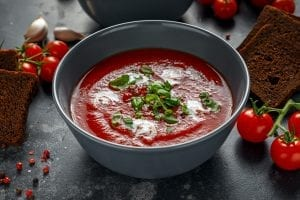 Chilled Tuscan Tomato Soup with Basil Cream Sauce Recipe