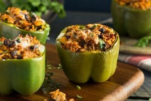 Crockpot Bell Peppers Stuffed with Salsa Rice and Beans Recipe