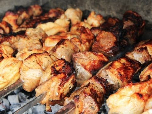 Crockpot Pork Barbecue Recipe - skewered pork barbecue pieces