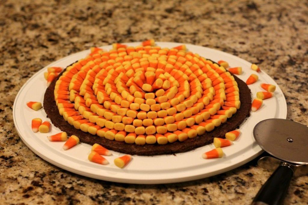 Candy Corn Brownie Pizza Recipe