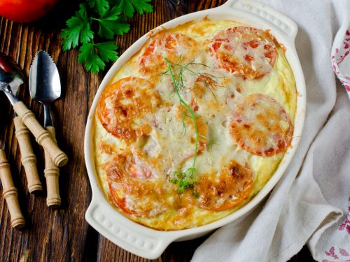 Egg and Tomato Casserole Recipe, tomato casserole with fresh tomato slices and cheese