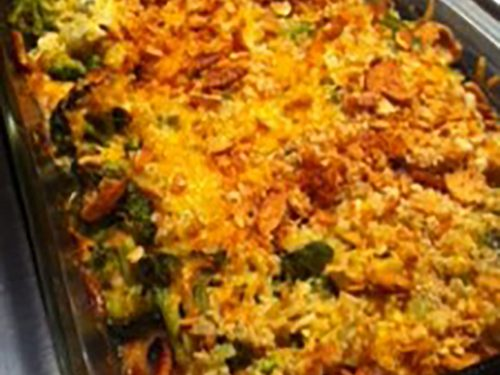 fast broccoli rice and chicken casserole
