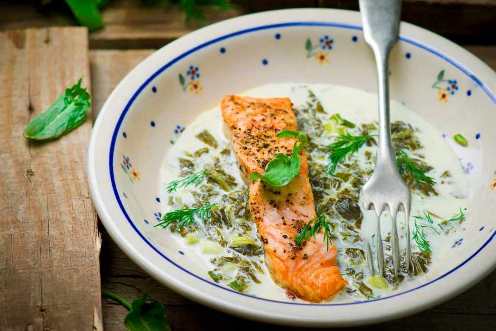 Fillets of Salmon with Sorrel Sauce Recipe