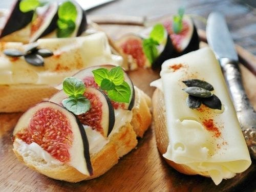 french baguette with ricotta, prosciutto and marsala figs
