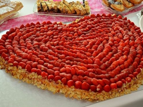 giant cherry heart dessert