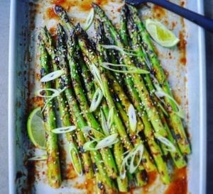 Grilled California Asparagus with Romesco Sauce Recipe