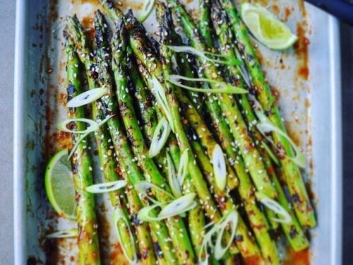 grilled california asparagus with romesco sauce