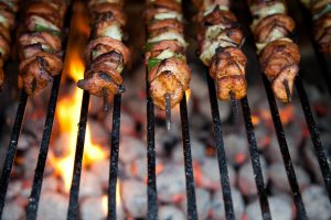 Grilled Pork Kebabs with Manchamantel Sauce Recipe