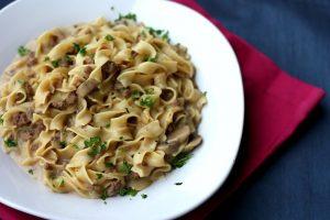 Ground Beef Stroganoff with Noodles Romanoff Recipe