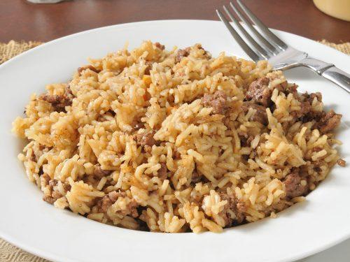 delicious hamburger and rice