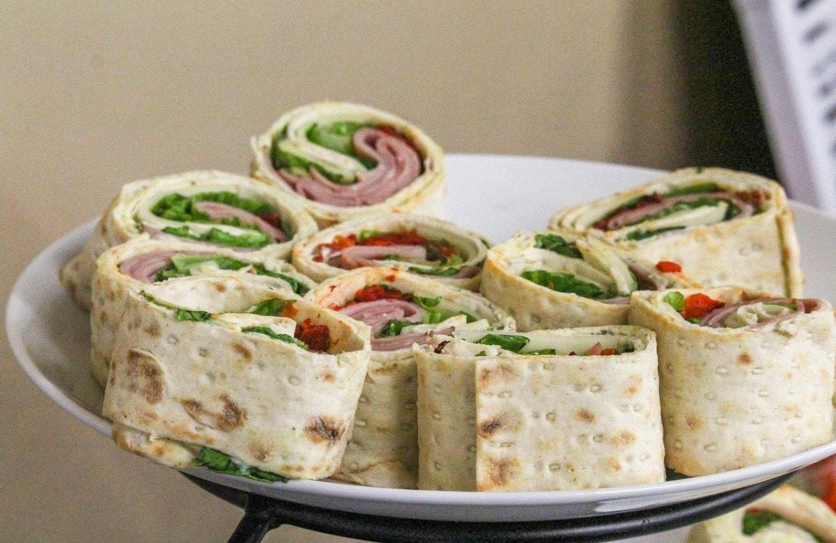 cut-up ham and spinach sandwich wraps