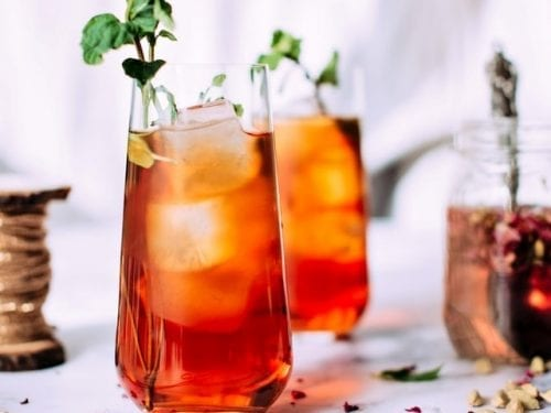 iced rhubarb tea