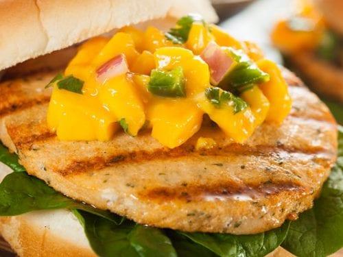 mahi mahi burger with mango salsa