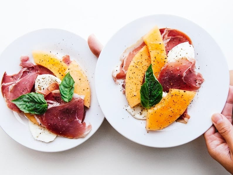 melon and prosciutto with balsamic vinegar and mint