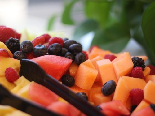 melon tray with fruit dressing
