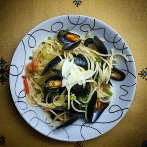 Mussels, White Wine and Garlic Over Pasta Recipe