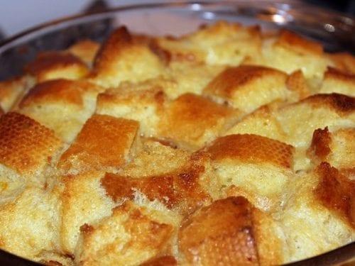 peach brioch bread pudding