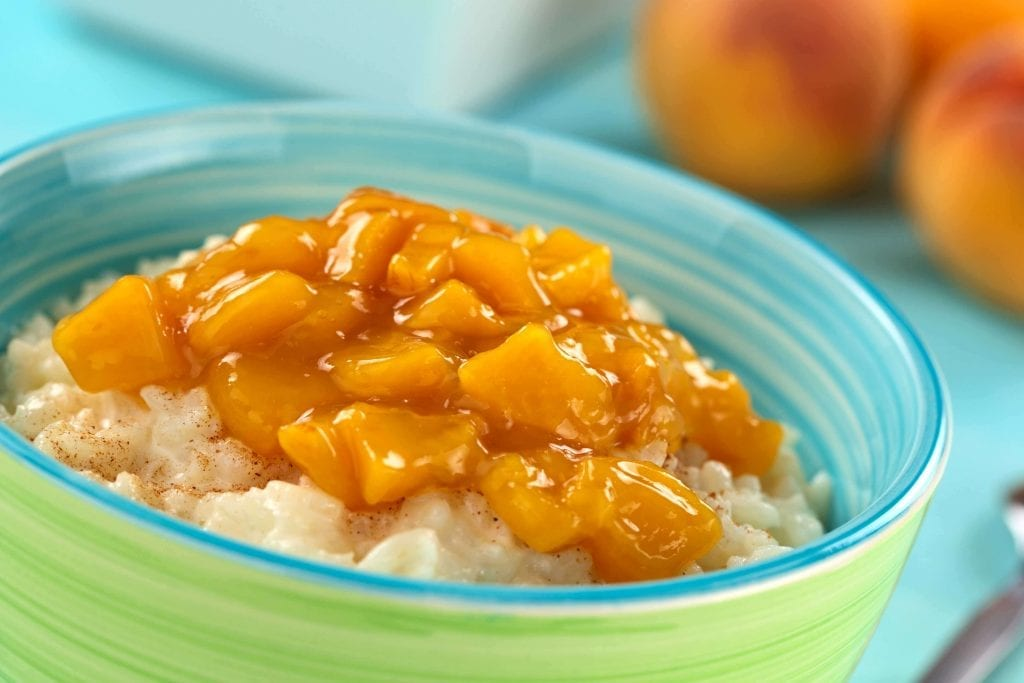 rice pudding topped with peaches