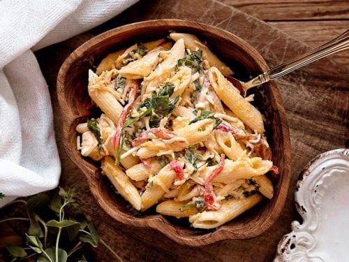 Pickle Olive and Imitation Crabmeat Pasta Salad