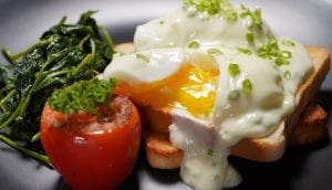 Poached Eggs with Sautéed Spinach and Yogurt Sauce Recipe
