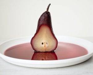 Poached Pears in Mulled Cranberry and Sun-Dried Cherry Sauce Recipe