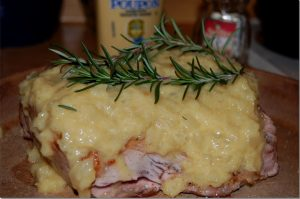 Pork Loin with Applesauce, Jelly, and Horseradish Recipe