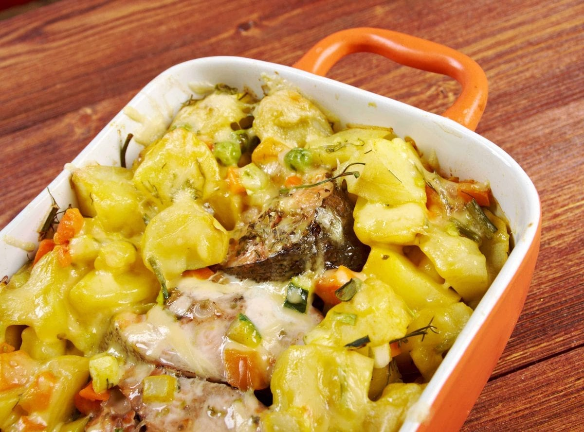 baked trout with potatoes in a casserole