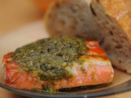 salmon with pesto glaze