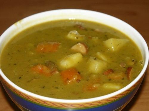 Savory Split Pea Soup With Kielbasa