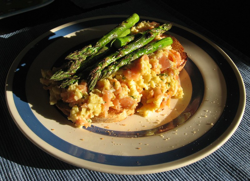 Scrambled Eggs in Baby Brioches with Smoked Salmon and Asparagus Recipe