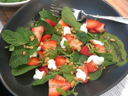 healthy strawberry macadamia salad