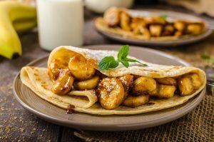 Stuffed Caramel Banana Pecan Cream Pancakes Recipe