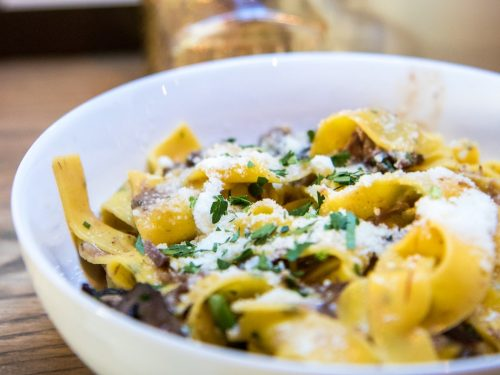 tagliatelle with chestnuts and sausage