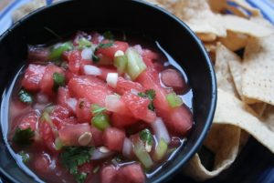 Toasted Jalapeno Tomatillo and Watermelon Salsa Recipe