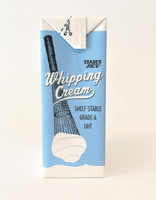Trader Joe's Shelf Stable Whipping Cream Cream at the Ready When You Need It