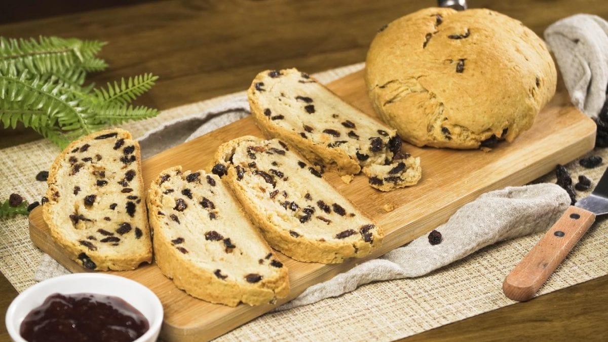 Mom's Irish Soda Bread - Warm and dense quick Irish soda bread recipe with raisins paired with jam, butter, or citrus marmalade