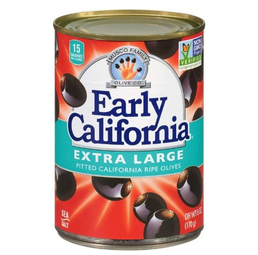 Early California 6 oz. Ripe Pitted Extra-Large Black Olives