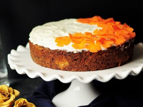 carrot cake with candied carrot toppings