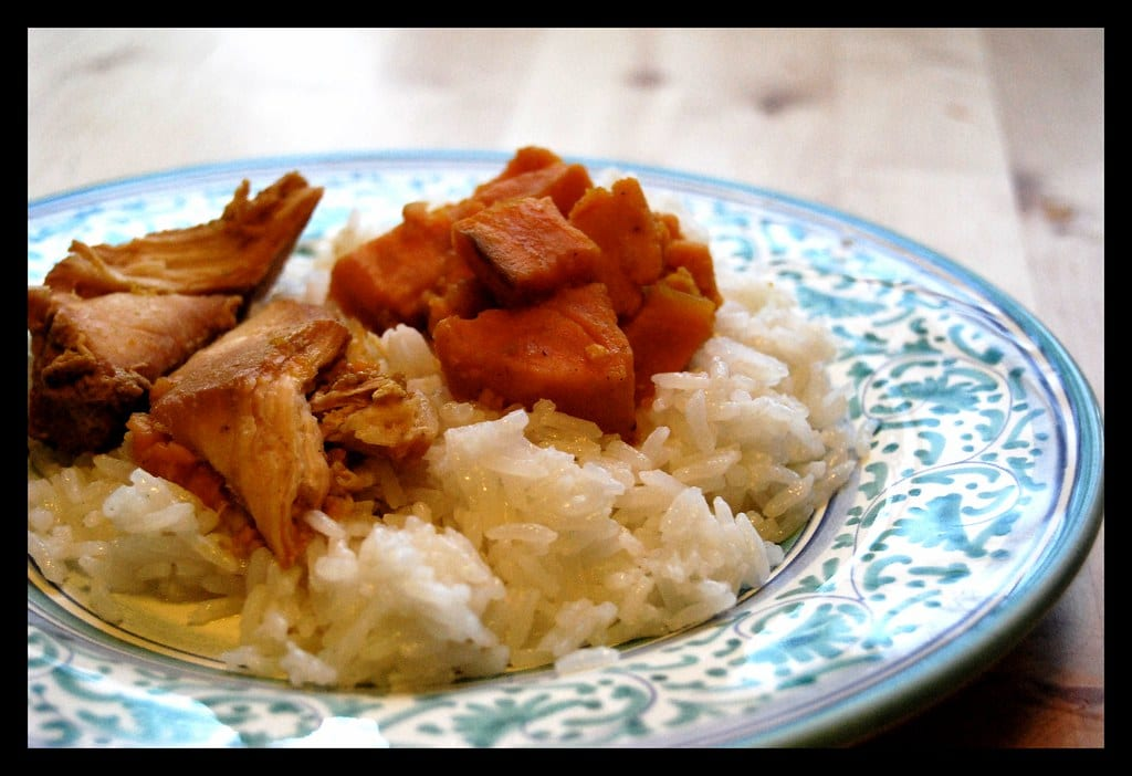Chicken Curry with Sweet Potatoes and Coconut Rice Recipe