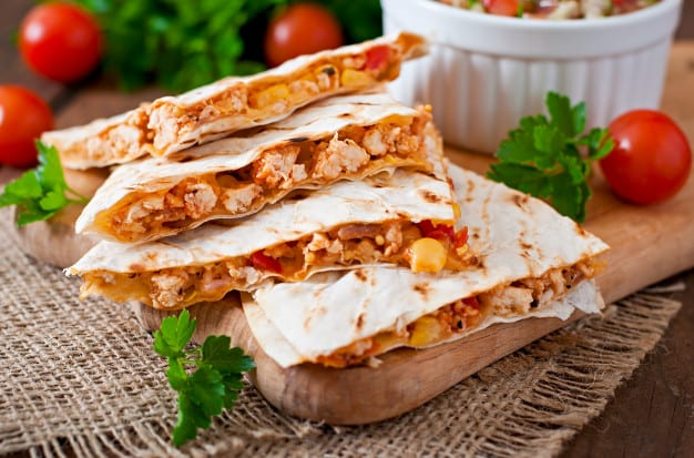 Chicken Quesadillas with Corn-Tomato Salad Recipe