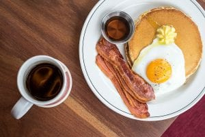 Classic Sunny side Up Eggs with Bacon and Pancakes Recipe