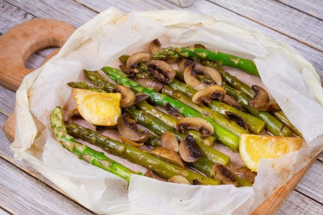 grilled asparagus and mushrooms