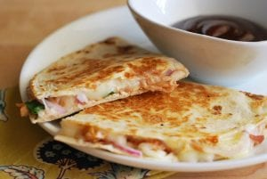 creamy buffalo chicken & black bean quesadillas-6