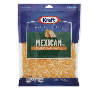 Kraft Zip Pak Natural Shredded Mexican Style Cheddar Jack Cheese