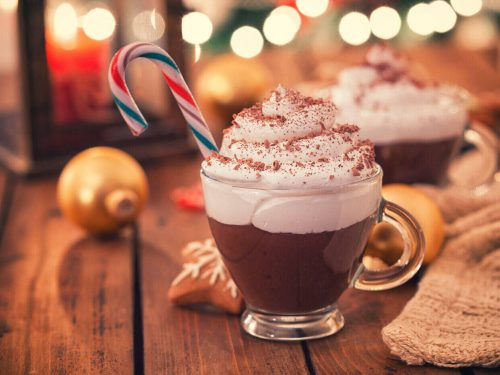 Peppermint Hot Chocolate, cozy winter hot chocolate drink with whipped cream and candy cane